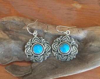 E308 The Rose Window Turquoise Earrings in Sterling Silver