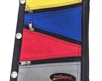 Vintage Extreme Color Block Pen Pencil Bag Pouch Fabric Case 3 Ring Binder