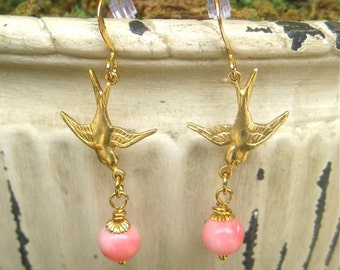 Blushing Pink Bird In Flight Dangle Earrings