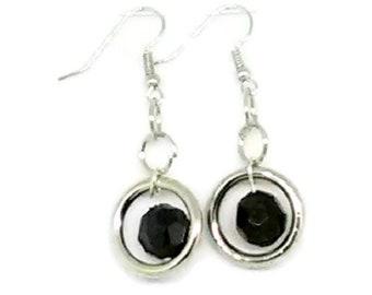 Black Faceted Round in Silver Rings Earrings