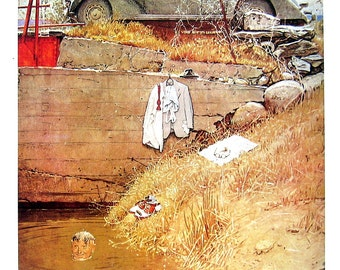 The Swimming Hole and Boy with Carriage - Norman Rockwell Art - Saturday Evening Post Cover - 2 Sided 1989 Vintage Book Page - 10 x 12
