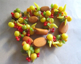 Vintage Western Germany Fruit Salad Necklace Destash Restring As Is Costume Jewelry Carmen Miranda Tropical Beads Tiki MoonlightMartini