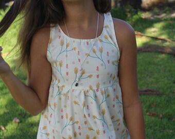 Spring leaf white/colored print dress