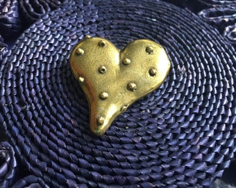 Brass Heart Pin, Vintage 80s Jewelry, Polka Dot Heart, Valentines Day gift Vintage Brass Pin, Steampunk Brooch Chunky 80s Brooch Robot Heart