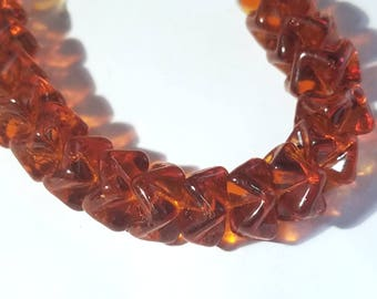 Vintage Amber Glass Ruffled Rondelle Beads