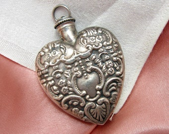 Victorian Repousse Heart Shaped Sterling Silver Perfume Bottle Pendant