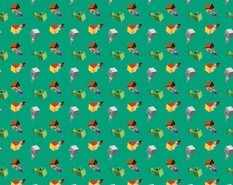 Mojang Minecraft Day Mobs Cotton Fabric