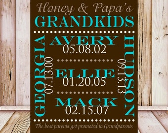 Gifts for Grandparents, Grandchildren Names. Grandparents Anniversary Gift, Grandmother and Grandfather Gift, The Best Parents Get Promoted
