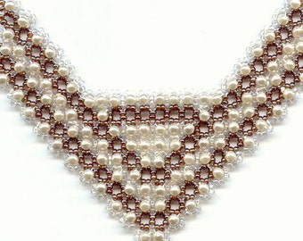 Beading Pattern seed beaded necklace pearls Beading Tutorial Beading Patterns detailed instructions beading stitch unique design