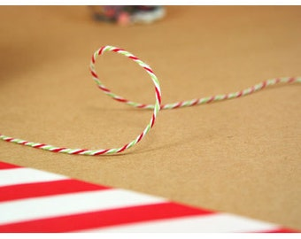 Christmas Twine - Holiday Packaging - Christmas Gift Wrap - Red Twine - Green Twine - 240 yards Spool
