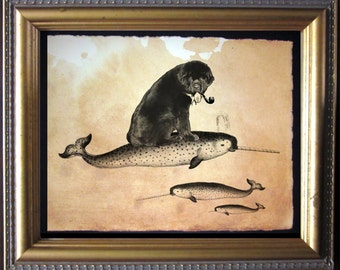Newfie Newfoundland Riding Narwhal - Vintage Collage Art Print on Tea Stained Paper -  dog art - dog gifts - mother's day gift