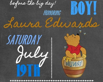 Winnie the Pooh Baby Shower Invitations, Chalkboard Vintage Style, Printable Photo Card, Digital File,