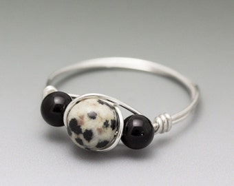 Dalmatian Jasper & Black Onyx Sterling Silver Wire Wrapped Bead Ring - Made to Order, Ships Fast!