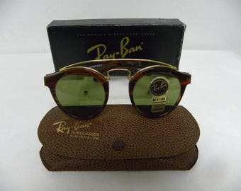 New Vintage B&L Ray Ban Gatsby Combo Style 4 W0933 Mock Tortoise RB-3 Green Round Sunglasses nos