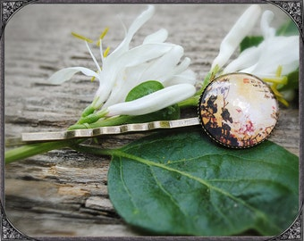 Cabochon asian flower hair pin  1
