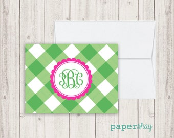 Personalized Stationery, Personalized stationary, Notecard, Monogram stationery, Monogram Note Cards, Gingham Notecard, Fold Over Card