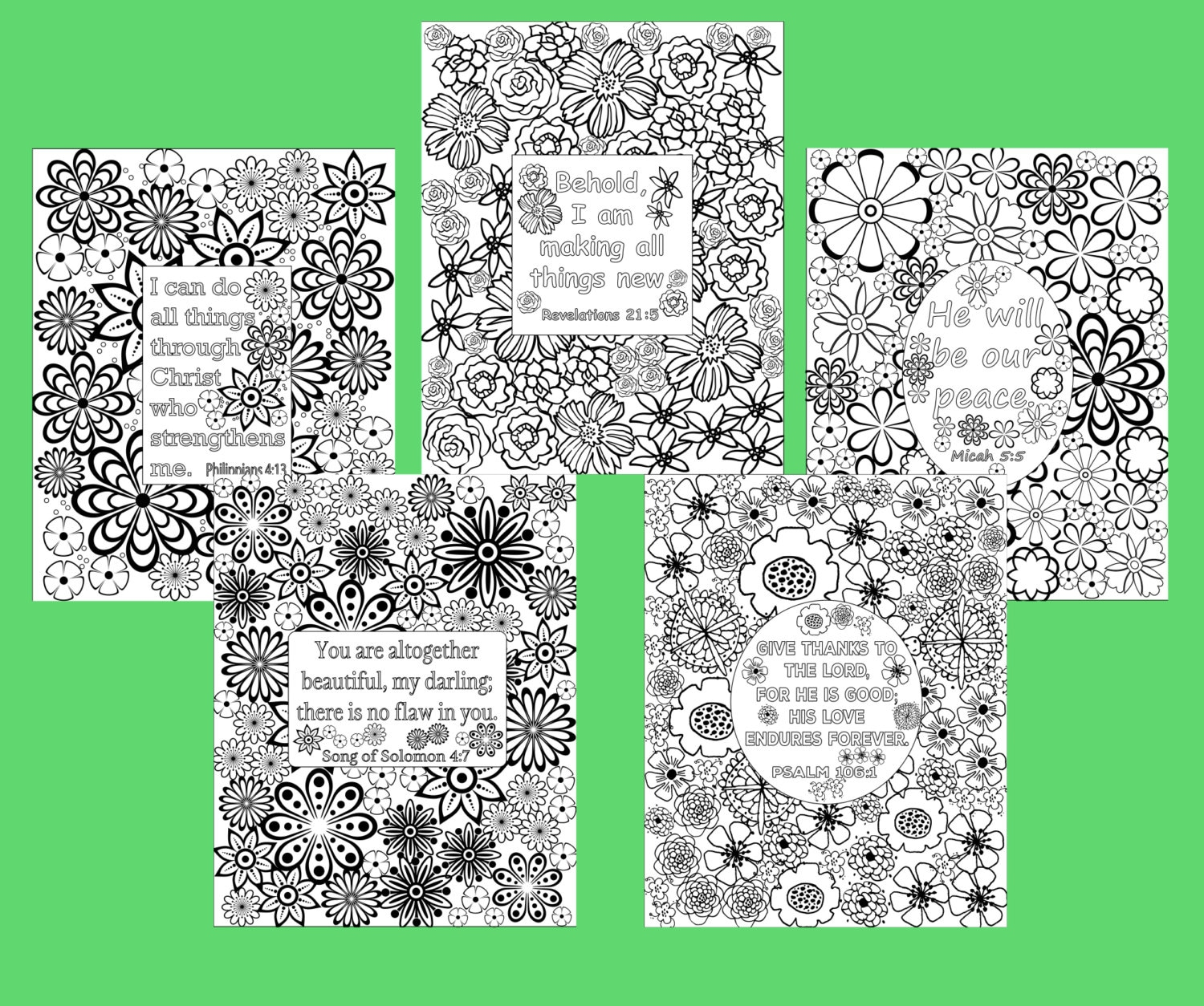 Flower coloring pages Bible verse coloring sheets. Set of 5