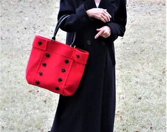 Vintage Braciano Italian Wool Handbag Tote - NOS
