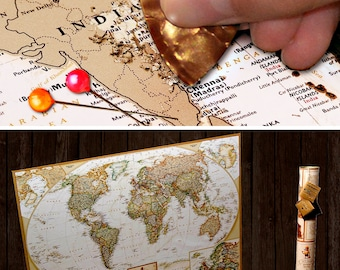 Anniversary Gifts For Men - Personalized Scratchable World Map