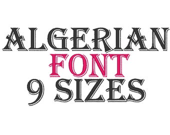 Algerian Font BX Embroidery Files 9 SIZES - Instant Download