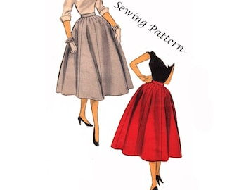 "Advance 6812 Misses Full Flared Eight Gore Skirt Dart Shaping Banded Waistband Sewing Pattern Waist 24""/ 61cm Vintage 1950s UNCUT"