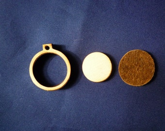 """Mini Round Wooden Embroidery hoop for Necklaces or pendants - 1"""" size"""