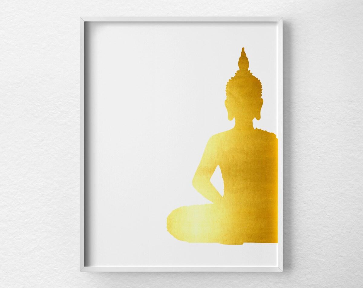 Buddha Wall Art Buddha Poster Buddha Print Faux Gold Foil