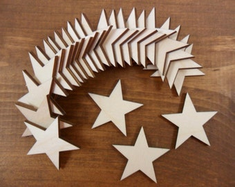 "Wood Stars 1 1/4"" Laser Cut Wood Shapes - 25 Pieces"