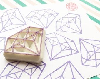 diamond rubber stamp | gemstone stamp | diy birthday wedding christmas scrapbooking | japanese stationery | hand carved by talktothesun