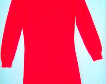 Vintage Red Sweater Dress by Alberoy-Size 6-Orlon Acrylic-Long Sleeves