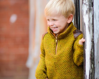 make your own Grove Pullover (DIGITAL KNITTING PATTERN) sized 2 to 12 years toddler boy zipper sweater