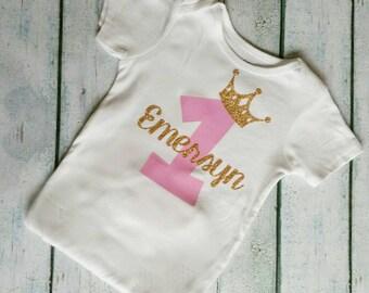 First Birthday Shirt / Girls Birthday Shirt / Birthday Tshirt / First Birthday / Girl Birthday Crown / Birthday Princess / Customizable
