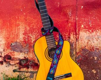 Guatemalan embroidered, leather guitar strap, gift guitarist, woven guitar strap, gift for him her- Turquoise/Magenta TUG3