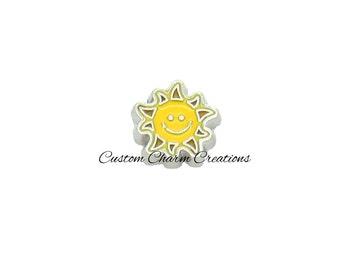 Floating Locket Charm • Happy Sun • Smile • Beach • Vacation Memory Charm - BEA08