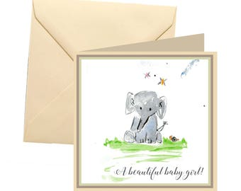 New baby girl card, new baby greetings card, its a girl card, new baby, new baby girl, baby shower card