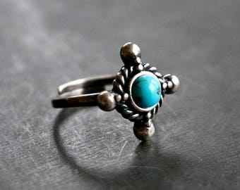 Ahiga Sterling Silver Ring Turquoise Ring Boho Ring Bohemian Jewelry