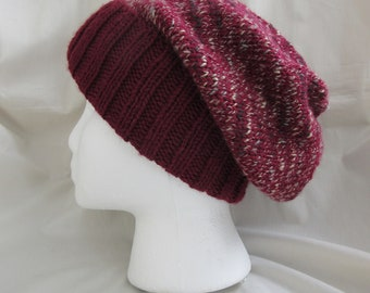 Slouchy Hat — Hipster Hat — Skully Hat — Knit Slouchy Hat — Knit Hipster Hat —Knit Slouchy Beanie — Knit Grunge Beanie Hat — Red Knit Hat