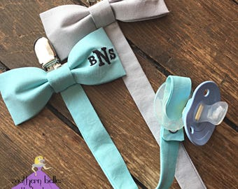 Baby boy gift etsy baby boy gift monogrammed bow tie pacifier clip easter baby tie personalized baby gift negle Image collections