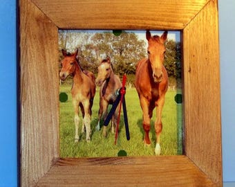 square frame clock wood natural to hang with your custom photo