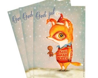 3 christmas cards with fox eating gingerbread. Art by Susann Brox Nilsen. Double w/ envelope. Greeting card, snow, cartoon, baking, love