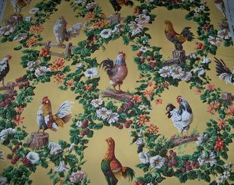 BRUNSCHWIG & FILS FRENCH Country Flew The Coop Roosters Toile Fabric 10 Yards Yellow Multi