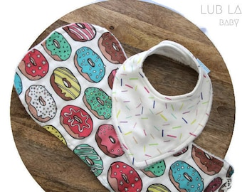 Bib and burp cloth gift set, Candy sprinkles baby gift, Pink doughnut/donut theme baby gift