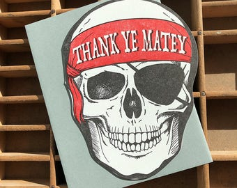 Thank Ye Matey Pirate skull card