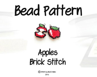Brick Stitch Apples Beading PATTERN, Delica Seed Beads | Digital File
