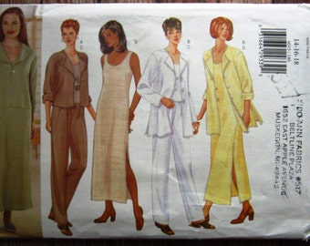Very Easy Sew Misses Unlined Jacket in Two Lengths, Pullover Top or Dress and Pants Sizes 14 16 18 Butterick Pattern 6015 UNCUT