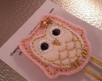 Pink Owl with Bow Paper Clip