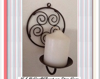 Candle Holder Sconce Vintage Wrought Iron Pillar Wall Art Hanging Home Decor Country Decor Cottage Chic Decor Victorian Decor Unique Gift