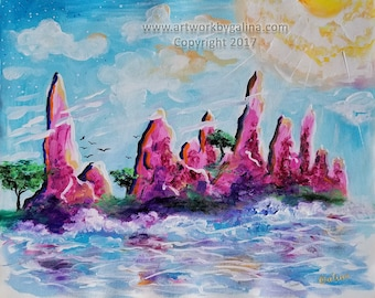 Purple Island - Original acrylic on unstretched canvas sheet by Galina