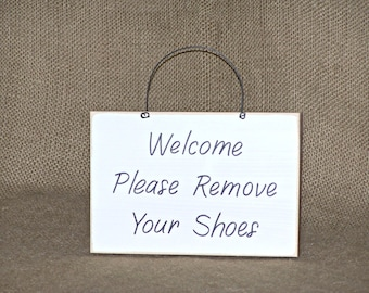Wood Home Decor, Housewares, Welcome Please Remove Your Shoes Sign, Modern Country Cottage, Distressed Farmhouse, Rustic No Shoes Plaque
