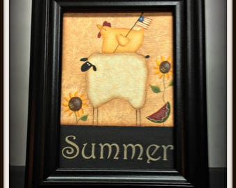 Primitive Sheep Summer 5 x 7 Framed Canvas Home Decor Picture